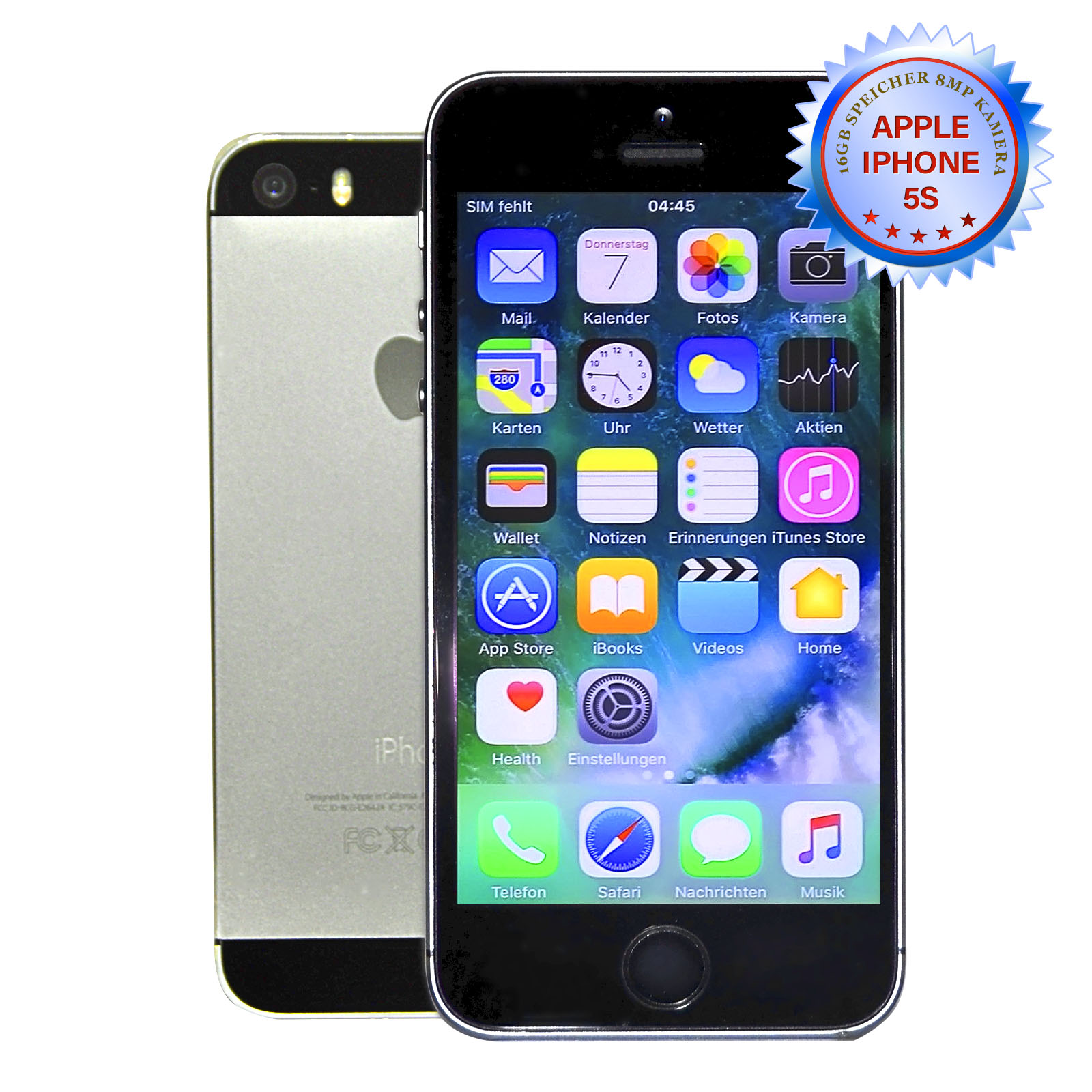 apple iphone 5s 16gb spacegrau ohne simlock smartphone. Black Bedroom Furniture Sets. Home Design Ideas