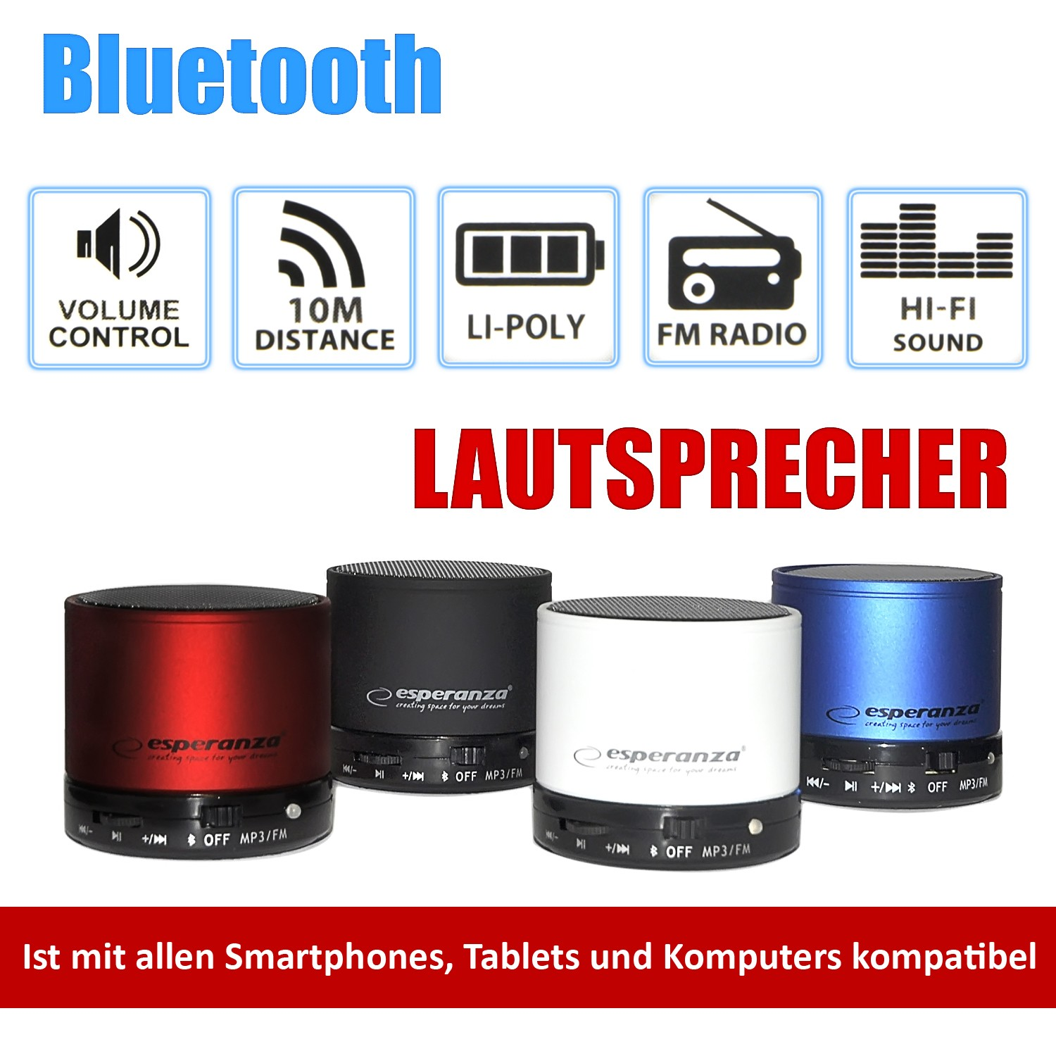 Mini Wireless Bluetooth Lautsprecher Sound Box Radio MP3 in verschiedenen Farben