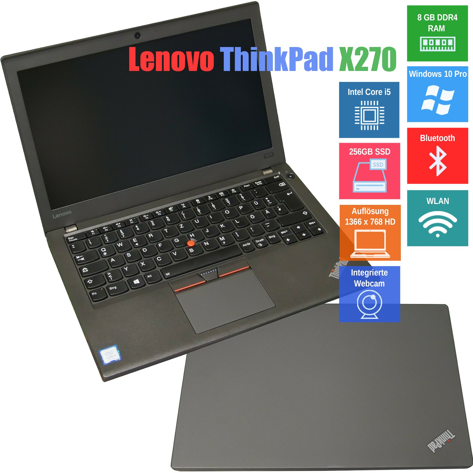 "Notebook Lenovo ThinkPad X270 12,5"" (31,8 cm) Core i5 7200U 8GB RAM 256GB SSD LTE DE"