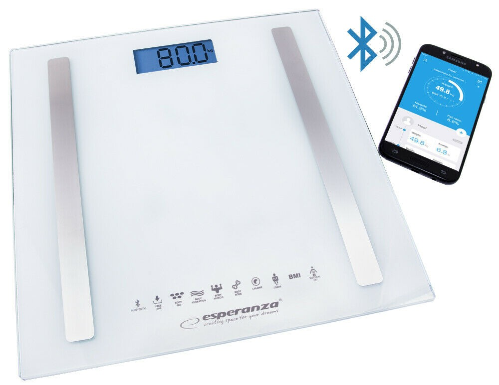 8 in 1 Personenwaage Körperwaage Körperfettgehalt BMI Körperanalysewaage Weiß