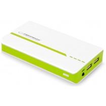 MOBILE POWER BANK 11000 MAH 2 X USB OUT MICROUSB HANDY LADEGERÄT Weiß / Grün