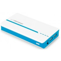 MOBILE POWER BANK 11000 mAh 2 x USB out microUSB  HANDY Ladegerät Weiß / Blau
