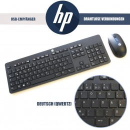 HP Business Tastatur & Maus, Kabellos, Deutsch, QWERTZ, Schwarz
