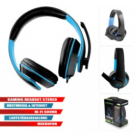 Gaming Headset Stereo Multimedia Kopfhörer mit Mikrofon Blau