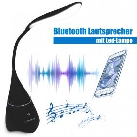 LED Tischlampe Tischleuchte mit Bluetooth Lautsprecher Box, Schwarz