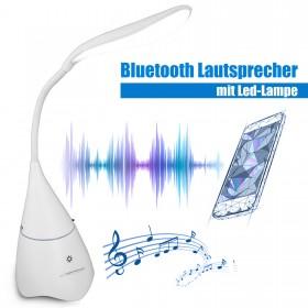 LED Tischlampe Tischleuchte mit Bluetooth Lautsprecher Box, Weiß