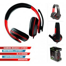 Gaming Headset Stereo Multimedia Kopfhörer mit Mikrofon Rot